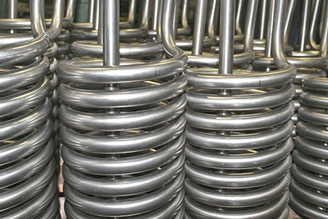 Helical coils for the foodstuff industry